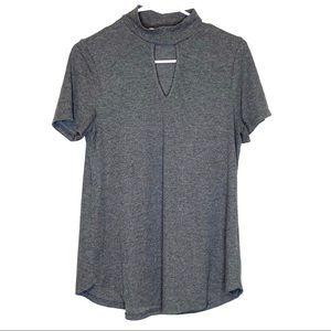 Gaze USA keyhole blouse gray size L